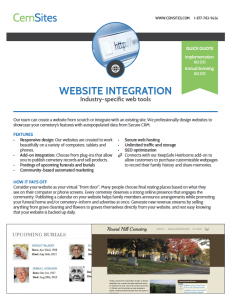 Example of the Website Integration informational PDF
